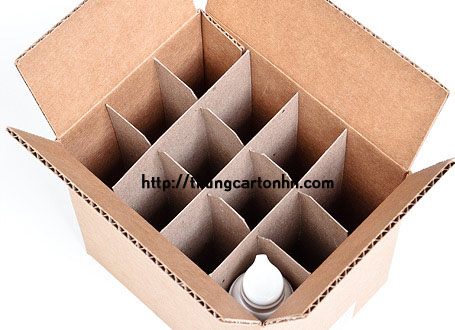 thùng carton có vách ngăn đựng chai