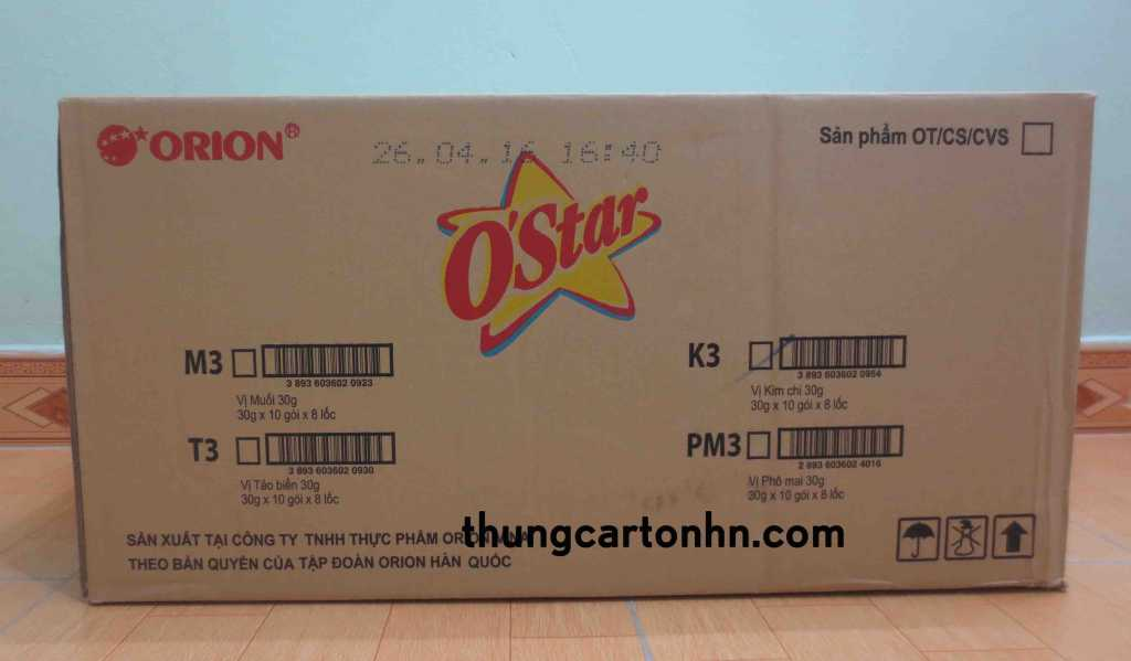 thùng carton cũ ostar kích thước: Dài 66 rộng 45 cao 33