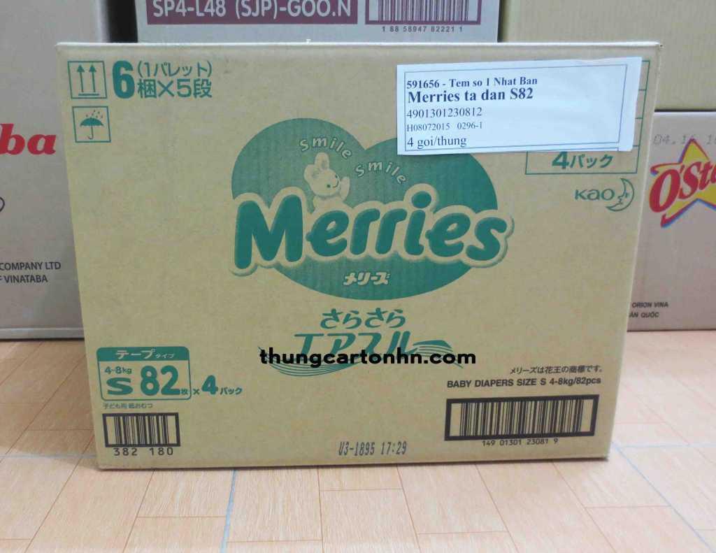 thùng carton cũ merries kích thước: dài 52 rộng 37 cao 40