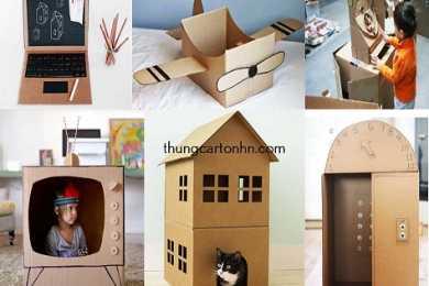 thùng carton cũ làm đồ chơi cho trẻ