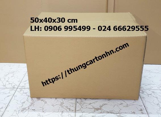 Thùng carton trơn mới 3 lớp 50x40x30 cm dài rộng cao.